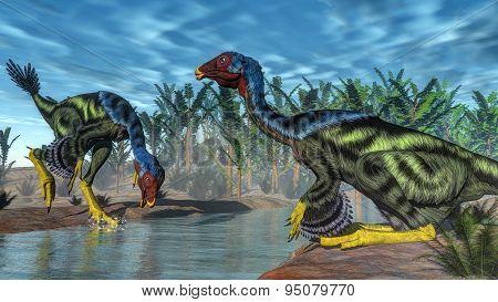 Caudipteryx dinosaur - 3D render