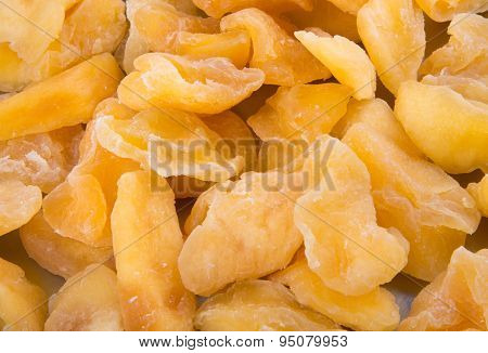 Apple Dry Or Dried Apple Slices On Background.