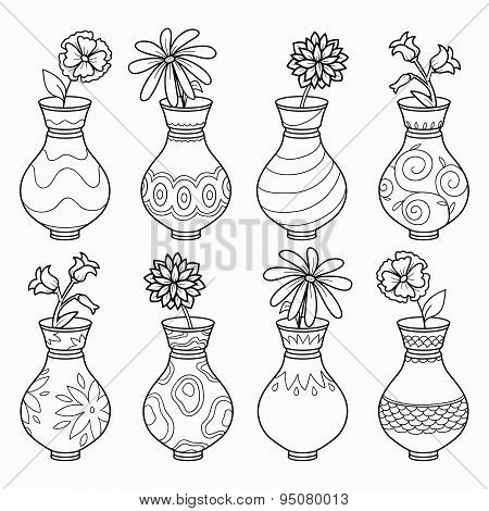 Coloring book (vases with flowers), vector colorless