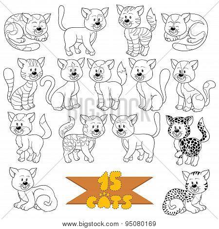 Set of various cute cats