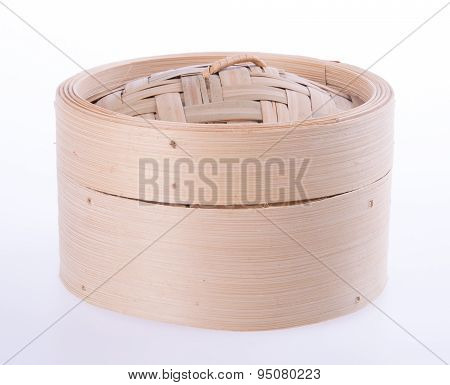 Bamboo Steamer Or Dim Sum Steamer On Background.