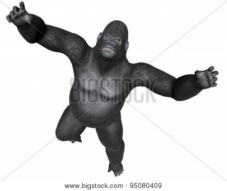 Angry gorilla jumping - 3D render