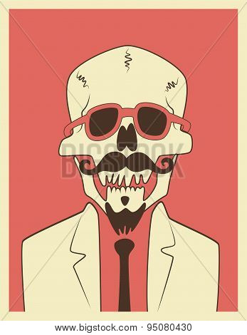 Funny skull hipster character with a mustache and beard. Typographic retro Halloween poster. Vector