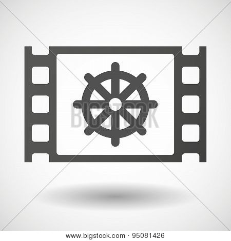 35Mm Film Frame With A Dharma Chakra Sign