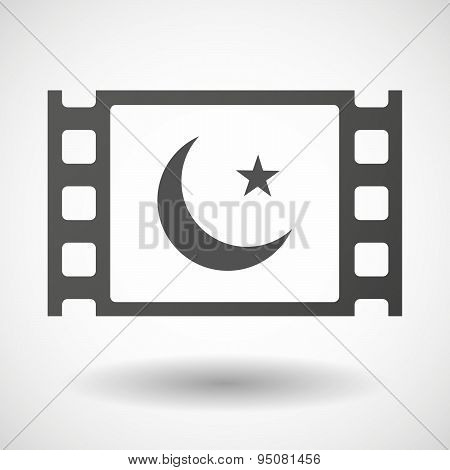 35Mm Film Frame With An Islam Sign