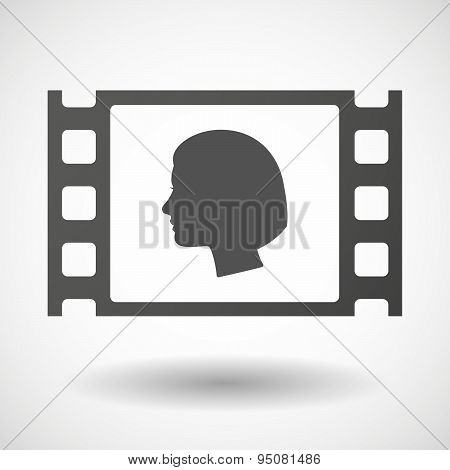 35Mm Film Frame With A Female Head