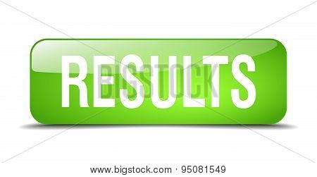 Results Green Square 3D Realistic Isolated Web Button