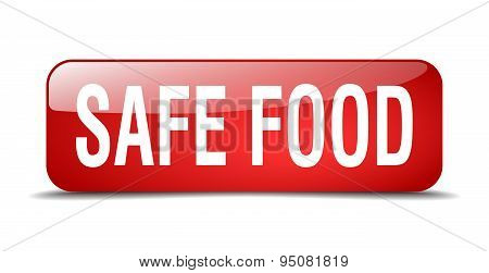 Safe Food Red Square 3D Realistic Isolated Web Button