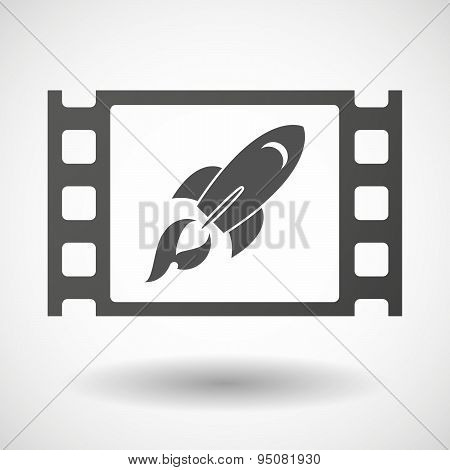 35Mm Film Frame With A Rocket