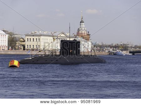 U-boat During Training In The Parade Dedicated To Victory Day, Ma