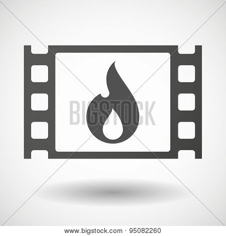 35Mm Film Frame With A Flame