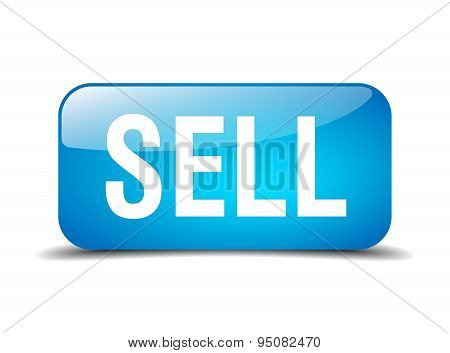 Sell Blue Square 3D Realistic Isolated Web Button
