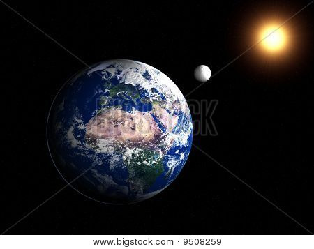 Earth With Moon