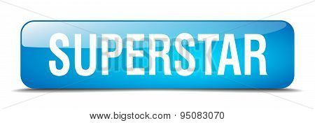 Superstar Blue Square 3D Realistic Isolated Web Button