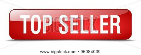 Top Seller Red Square 3D Realistic Isolated Web Button