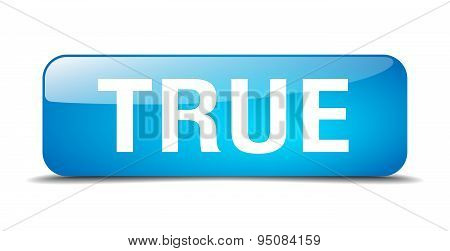 True Blue Square 3D Realistic Isolated Web Button