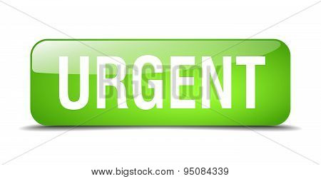 Urgent Green Square 3D Realistic Isolated Web Button