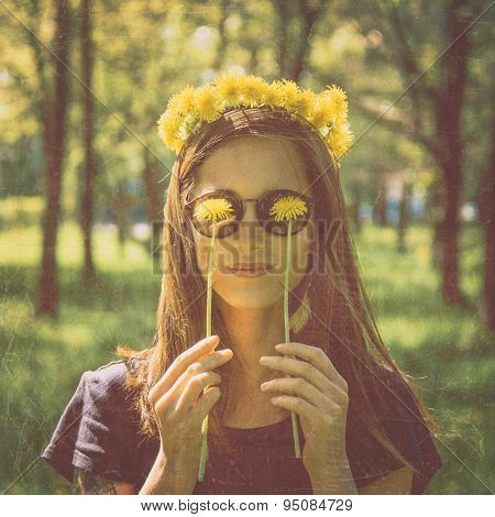 Smiling Woman With Yellow Dandelions