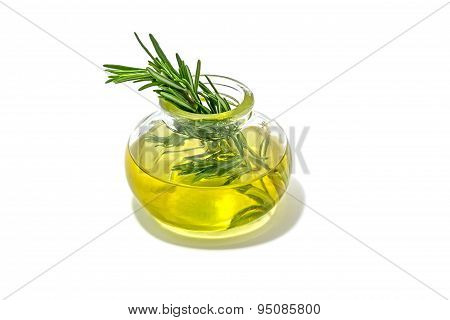 Rosemary Essential Oil Isolated On White Background.
