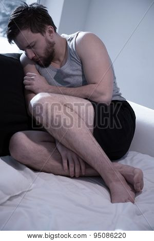 Depressed Man Trying To Sleep