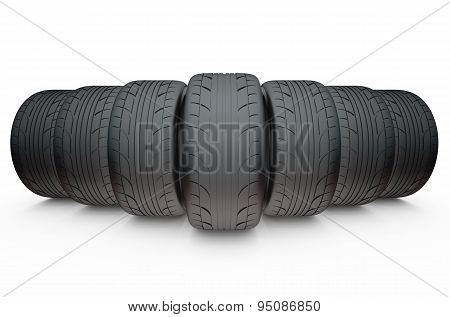 Group Of Automotive Tires