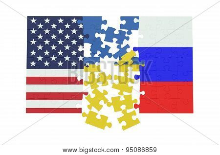 Puzzles Of Ukraine, Russia And Usa Flags