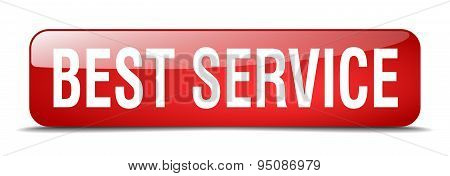 Best Service Red Square 3D Realistic Isolated Web Button