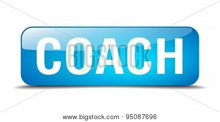Coach Blue Square 3D Realistic Isolated Web Button