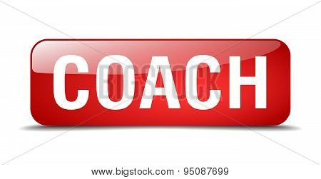 Coach Red Square 3D Realistic Isolated Web Button
