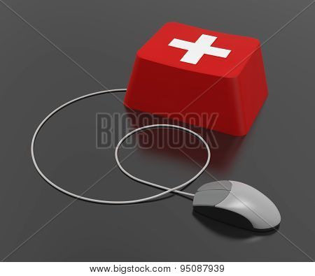 Computer First Aid Sign Keyboard Keys And Computer Mouse On Black Background