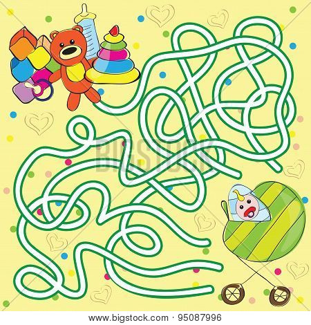 Maze for kids - help the baby to get toys