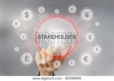 Business Hand Pushing Stakeholder Button