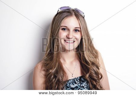 fashion look of beautiful young teen over white background