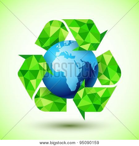 Recycling Symbol with Blue Globe