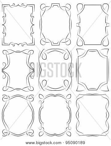 Set Of Frames Design Elements. Editable Vector File