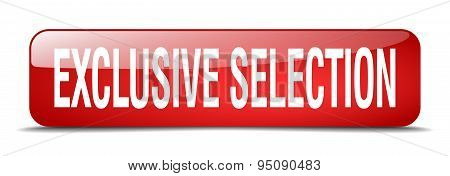 Exclusive Selection Red Square 3D Realistic Isolated Web Button