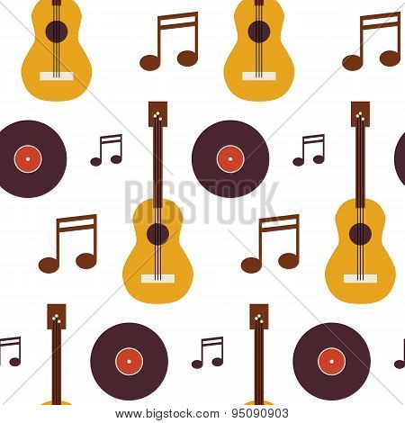 Flat Seamless Background Pattern Music Vinyl Disc Guitar And Note