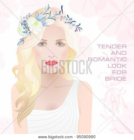 Beauty Face Of Bride. Vector Illustration.