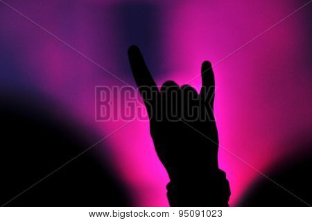 Hand Doing Rock Sign At A Rock Concert