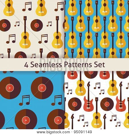 Four Vector Flat Seamless Music Instrument Guitar Musical Note Vinyl Disc Patterns Set