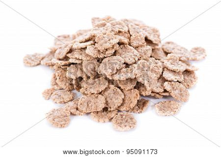 Wholemeal Cornflakes Isolated On White