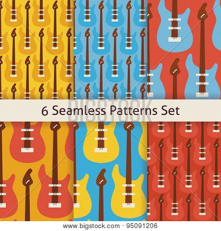 Six Vector Flat Seamless Rock Music Instrument Guitar Patterns Set