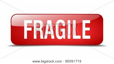 Fragile Red Square 3D Realistic Isolated Web Button