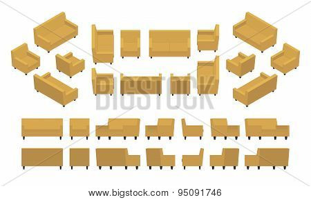 Isometric yellow modern armchair and sofa