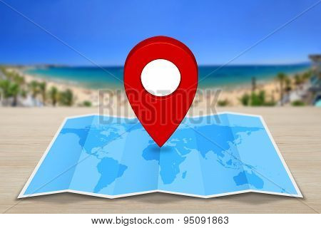 Pin Map Icon on A Blue Map