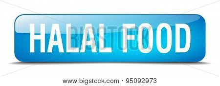 Halal Food Blue Square 3D Realistic Isolated Web Button