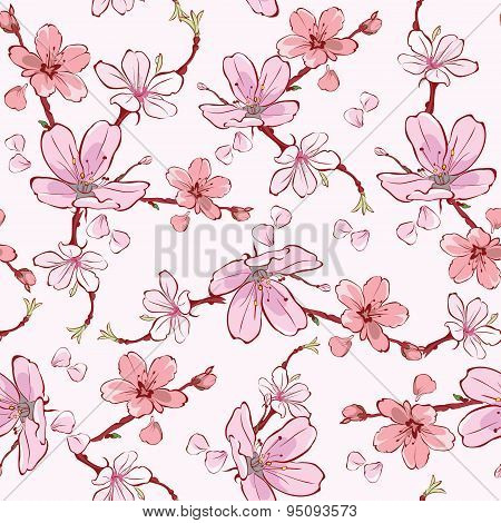 Vector Pink Cherry Sakura Flowers Seamless Pattern
