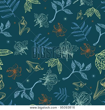 Vector Tropical Night Lineart Flowers Seamless Pattern