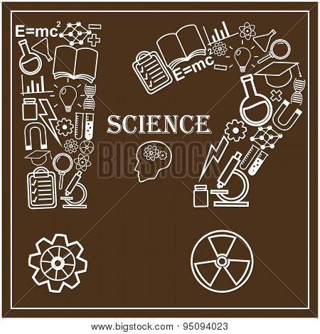 Human head and icons of science. Vector illustration in linear style.