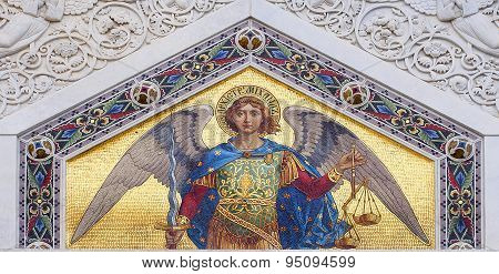 Colored mosaic of St. Michael